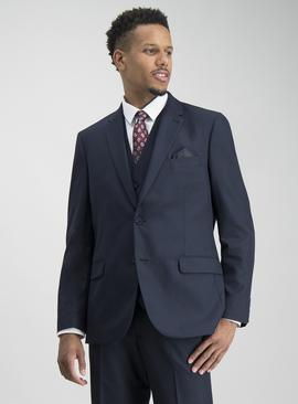 Navy Prince Of Wales Check Tailored Suit Jacket