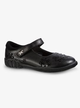 Black Embroidered Leather School Shoes