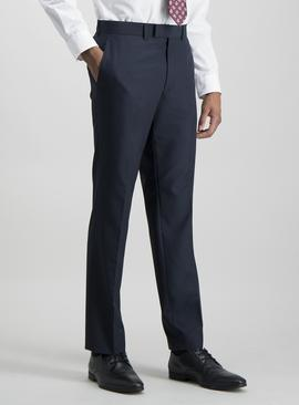 Navy Tailored Fit Prince Of Wales Check Suit Trousers