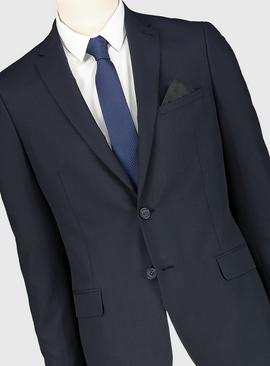 Navy Prince Of Wales Check Slim Fit Suit Jacket