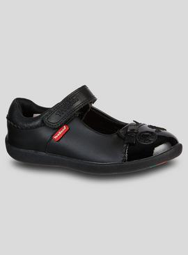 TOEZONE Black Leather Owl School Shoe