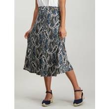 Teal Paisley Print Midi Skirt