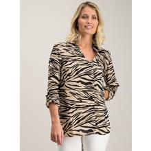 Tan Animal Print Long Sleeve Shirt