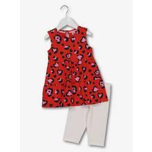 Red Leopard Print Dress & White Leggings Set (9 Months - 6 Y