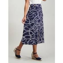 Navy Chain Print Midi Skirt