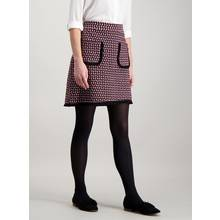Purple Geometric Patterned Mini Skirt With Pockets