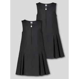 Grey Zip Front Pleated Pinafore Dress 2 Pack