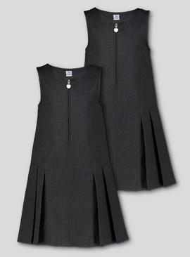 Black Zip Front Pleated Pinafore Dress 2 Pack