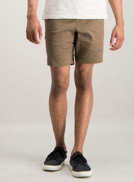 Brown Palm Tree Embroidered Chino Shorts With Stretch
