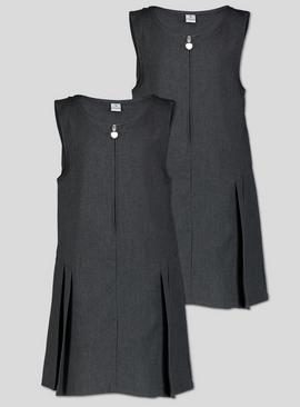 Navy Zip Front Pleated Pinafore Dress Plus Fit 2 Pack