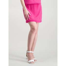 Bright Pink Fringed A-Line Textured Skirt