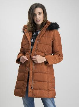 Rust Longline Padded Coat
