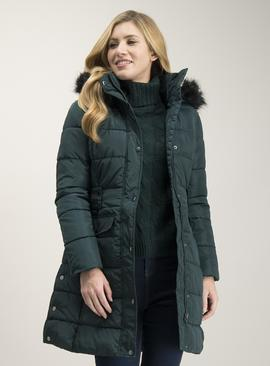 Dark Green Longline Padded Coat
