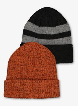 Multicoloured Rib Knit Beanie Hat 2 Pack