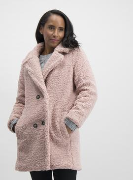 Powder Pink Double Breasted Teddy Coat