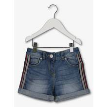 Blue Denim Glitter Taping Shorts