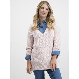 Pink Chunky Cable Knit V-Neck Jumper
