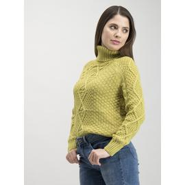 Lime Green Cable Knit Roll Neck Jumper