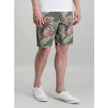 Grey Palm Leaf Print Cargo Shorts