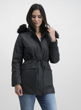 Black Rubber Quilt Lined Parka