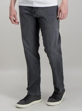 Grey Straight Leg 4 Way Stretch Denim Jeans