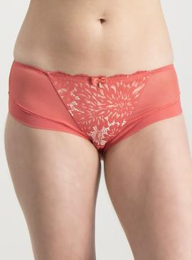 Coral Red Lace Knicker Shorts