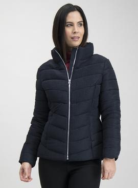 Navy Blue Crinkle Shower Resistant Padded Coat