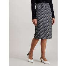 Black & Cream Ponte Pencil Skirt
