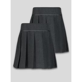 Black Permanent Pleat Plus Fit Skirt 2 Pack