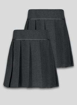 Navy Permanent Pleat Plus Fit Skirt 2 Pack