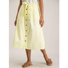 Yellow Gingham Button Through Midi Skirt