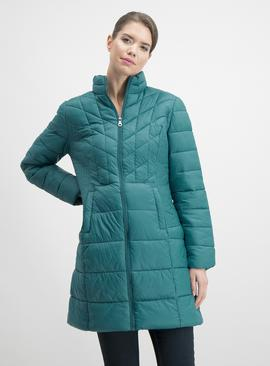 Online Exclusive Teal Longline Padded Coat In A Bag