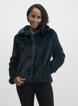 Online Exclusive Dark Teal Faux Fur Jacket