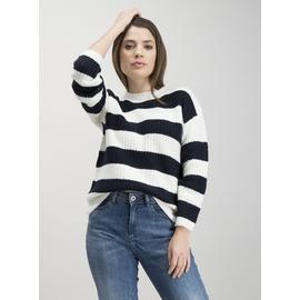 White & Dark Navy Chunky Block Stripe Knitted Jumper