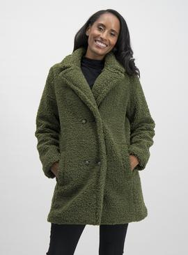 Online Exclusive Green Double Breasted Teddy Coat