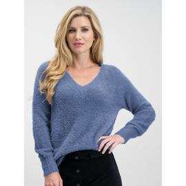 Blue Eyelash Longling V-Neck Jumper