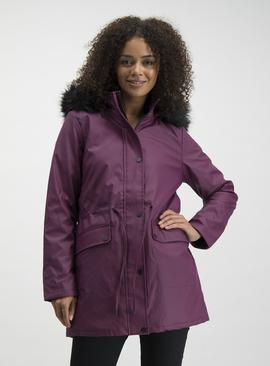 Aubergine Rubber Quilt Lined Parka