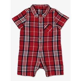 Red Check Woven Romper