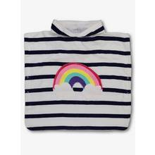 White Stripe & Rainbow Hooded Poncho Towel - One Size