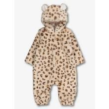 Beige Leopard Faux Fur All In One
