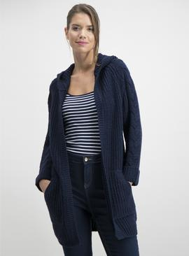 Navy Cable Knit Hooded Coatigan