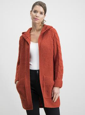 Burnt Orange Hooded Coatigan With Cable Knit Sleeves