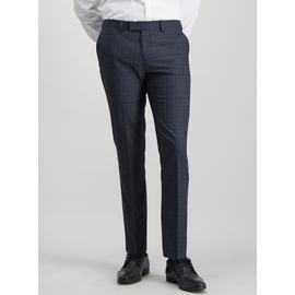 Navy & Brown Check Slim Fit Suit Trousers With Stretch