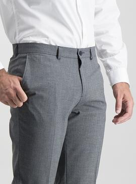 Grey Texture Slim Fit Trousers With Stretch