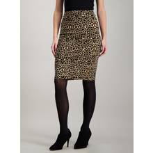 Brown Leopard Print Ribbed Pencil Skirt