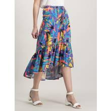 Multicoloured Bird Of Paradise Hi-Low Maxi Skirt