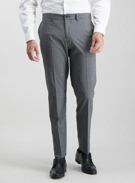Online Exclusive Grey Texture Tailored Fit Trousers