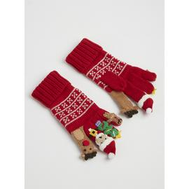 Christmas Red Knitted Finger Puppet Gloves
