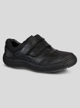Black Twin One-Touch Strap Leather School Shoes