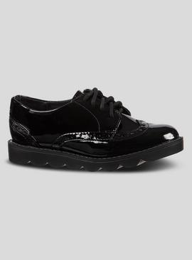 Black Bubble Sole Brogue School Shoes